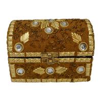 Wooden Rajasthani Jewellery Box (Pitari) Embed With Stones