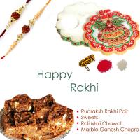 Exquisite rudraksh rakhi for bhai bhabhi, marble chopra