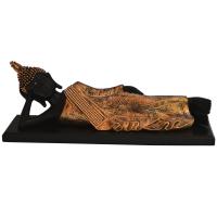 Fiber Sleeping Buddha Statue In Black & Gold