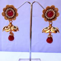 Floral design jhumki earrings