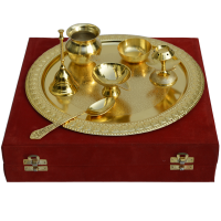 German Silver Golden Pooja Thali Online As Return Gifts