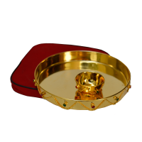 Golden Pooja Thali As German Silver Gift Items Online