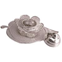 German Silver Paan Shaped Sindoor Dibbi For Ladies