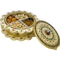 Dry Fruit Gift Box With Wooden Base & Meenakari Brass Lid