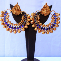 Gold bead studded fashionable earrings