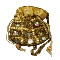 Golden Potli Bag with Stone and Pearl Work For Gift Ideas