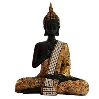 Gorgeously Black Gold Buddha Meditative Pose In Fiber