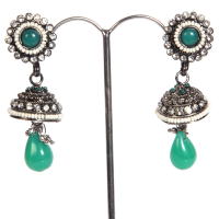 Green gem studded jhumki
