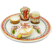 Marble Meenakari Stone Crafted Pooja Thali With Conch