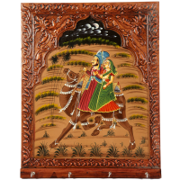 Wooden Rajasthani Jharokha Style Key Holder For Wall