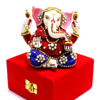Lord Ganesh With Beautiful Meena And Stone Work All Over