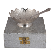 Lotus shape dry-fruit bowl made from German silver