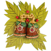Wooden Kundan Craft Twin Bell Leaf Key Holder For Wall Online