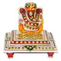 Marble Lord Ganesh Idol With A Turban & Sitting On Chowki