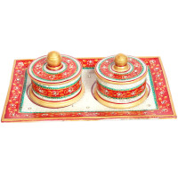 Marble Meenakari & Beads Crafted Twin Dibbi Set Online