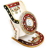 Meenakari Marble Mobile Stand With Clock
