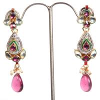 Multi-coloured teadrop hanging earrings