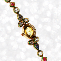 Oval Shaped Kundan Work Dialer Wrist Watch with CZ Stones and Kundan Work