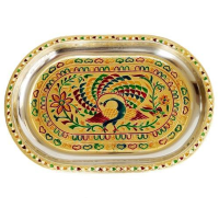 Oval Steel tray with meenakari work