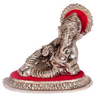 Oxidized Lord Ganesha Embedded In Red Singhasan Online