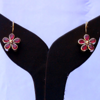 Pair of red floral earrings
