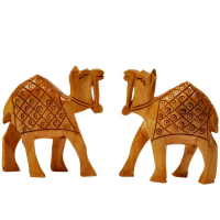 Pair of wooden camel