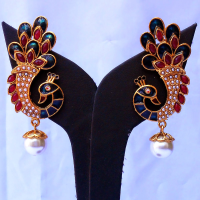 Peacock shaped minakari earrings