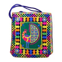 Rectangular bag with peacock design