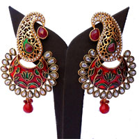 Red & green minakari earrings