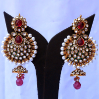 Red & white gem studded earrings