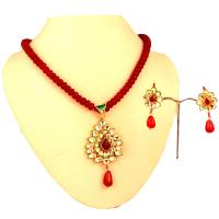 Red colour kundan pendant set
