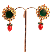 Red stoned kundan earrings