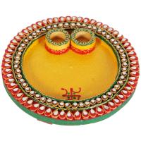 Wooden Kundan Craft Round Pooja Thali Online For Ladies