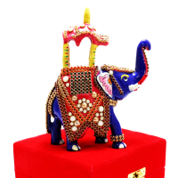 Royal Blue Elephant With Colourful Stone Work