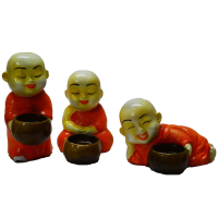 Set Of 3 Monks Candle Holder - Orange From Rajasthan