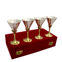 Set of Four Dual Tone Wine Glasses in German Silver