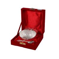 German Silver Apple Shaped Bowl & Spoon As Return Gifts