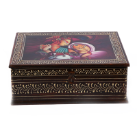 Square Shaped Wooden Box with Painting on It for Sale