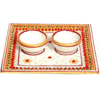 Marble Meenakari Square Twin Diya Pooja Thali Online