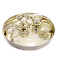 Stainless steel Puja plate set with liquor polish