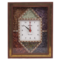 Stone embedded wooden wall clock