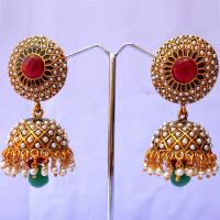 Stylish red & green jhumka earrings