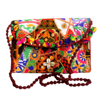 Traditional Multicoloured Purse Bag With Long Sling & Contemporary Print