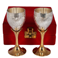 Two-Tone German Silver Wine Glass Set Of 2