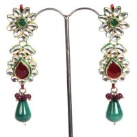 White green & red studded earrings
