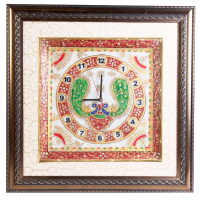Wooden Frame LED Marble Clock with Peacock Painting