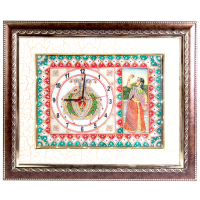Wooden Frame Marble Clock with Bani Thani Painting & LED