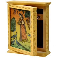 Wooden key stand with gemstone painting