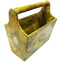 Wooden Handicrafts Magazine Holder With Brass Work Online