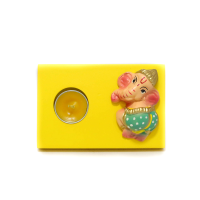 Yellow Ganesha T-Light Candle Stand